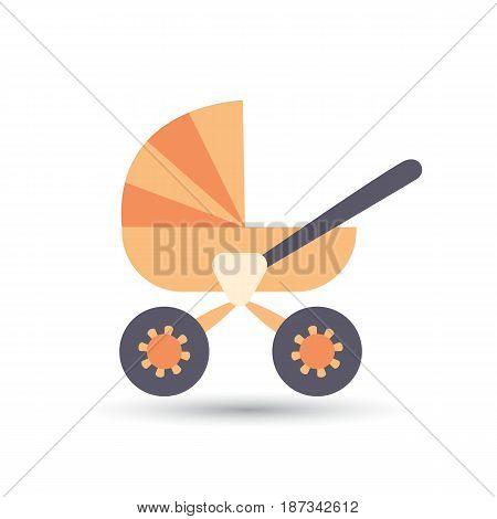 Cartoon image of cute orange baby pram.