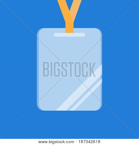 Clear and transparent plastic name tag on blue