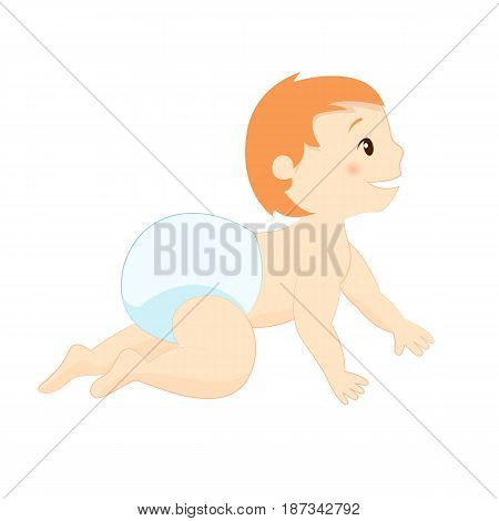 Cute baby in diaper crawling on the floor vector image.