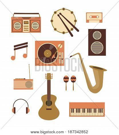 Vector flat illustration, icon set of music: recorder, drum, audio cassette, note, turntable, loudspeaker radio guitar maracas trumpet headphones piano