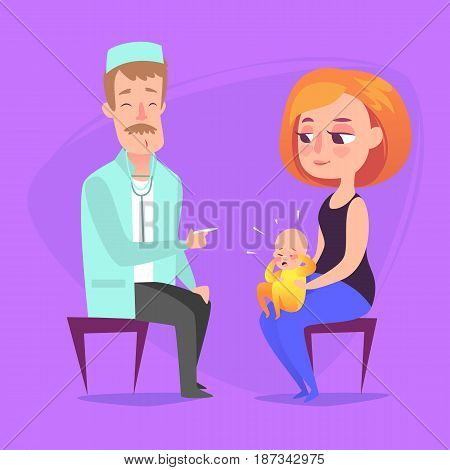 At the reception at the pediatrician. The doctor listens to breathing statoscope kid who sits in on her mother s lap and crying. Vector illustration in a flat style