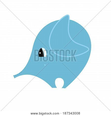 Cute elephant in simple round shape with big eyes.