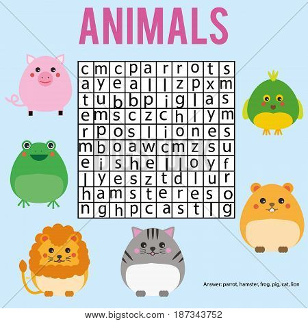 Educational children game. Word search puzzle kids activity. Animals theme. Learning vocabulary. Worksheet