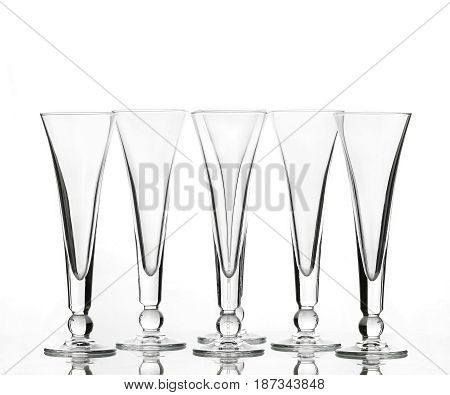 Empty wineglasses for wine on white background