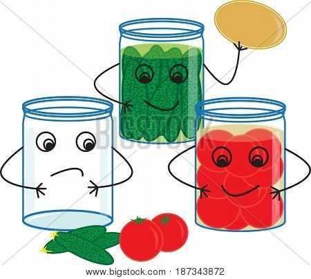 Glass jars with cucumbers and tomatoes, canning