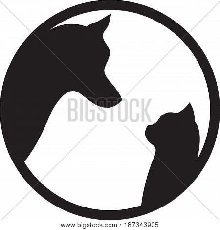 Black silhouettes of cat and dog on white background in round frame