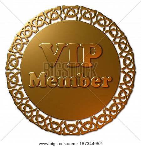 A 3D VIP Member Graphic seal or icon.  Golden  Metallic seal or button with fancy edge and golden color text.