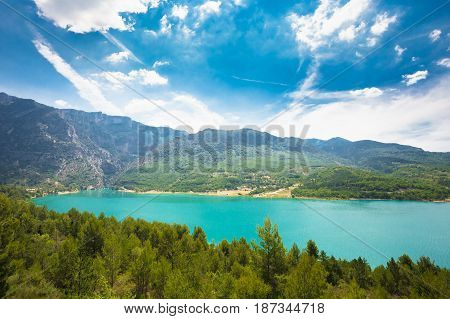 Beautiful landscape of St Croix Lake in the Gorges Du Verdon in south-eastern France. Provence-Alpes-Cote d'Azur.