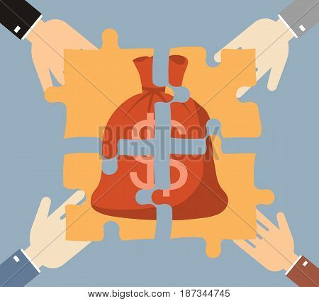 Investment money illustration. Four hands businessman folded money bag consists of puzzles. Business finance concept. Vector illustration..