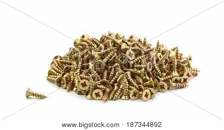 A pile of steel screws isolated on white