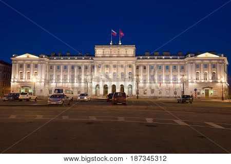 ST PETERSBURG, RUSSIA - MAY 03, 2017: View of the Mariinsky Palace in the May Night