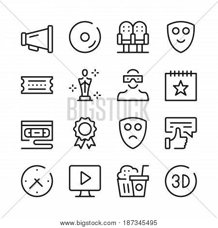 Cinema line icons set. Modern graphic design concepts, simple outline elements collection. Vector line icons