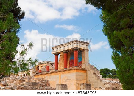 view of ancient ruines of famouse Knossos palace at Crete island, Greece