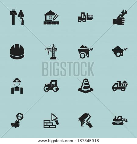 Set Of 16 Editable Construction Icons. Includes Symbols Such As Notice Object, Hardhat, Home Scheduling And More. Can Be Used For Web, Mobile, UI And Infographic Design.