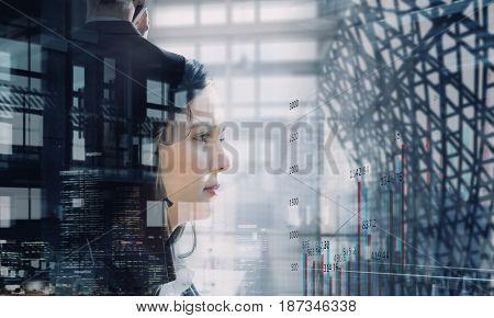 Elegant businesswoman in office interior. Mixed media . Mixed media
