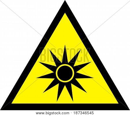 UV yellow safety sign - UV Warning Sign. vector