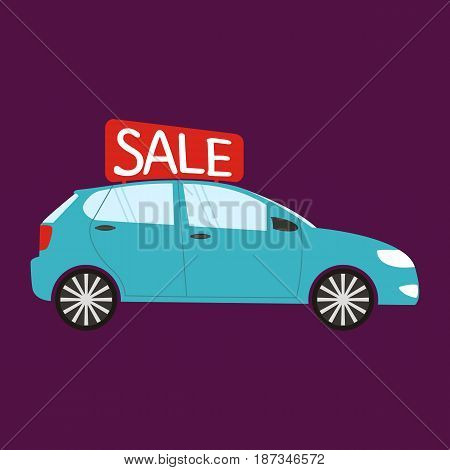 Buying the car. Car sale. Vector illustration