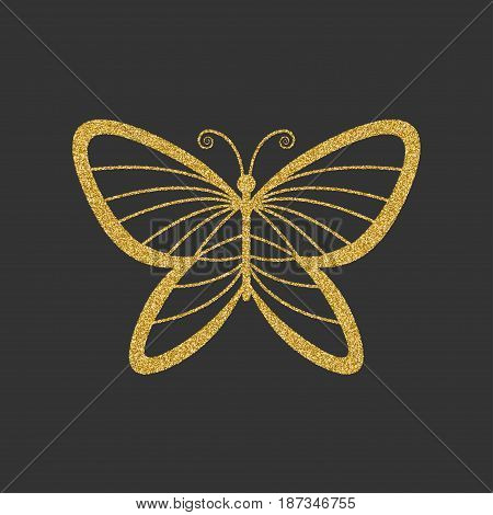 Decorative gold butterfly. Elegant linear silhouette. Item for logo. Vector illustration.