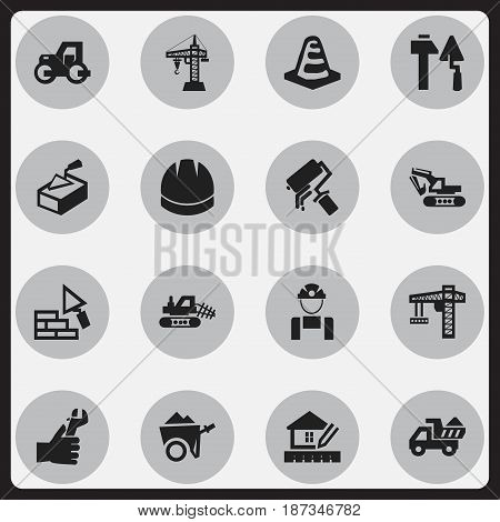 Set Of 16 Editable Structure Icons. Includes Symbols Such As Excavation Machine, Employee, Lifting Equipment And More. Can Be Used For Web, Mobile, UI And Infographic Design.