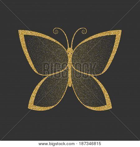 Decorative gold butterfly. An elegant silhouette. Item for logo. Vector illustration.
