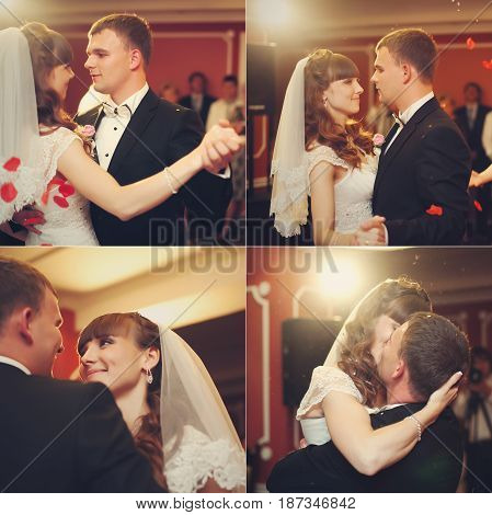 Four In One Picture Of Stunning Wedding Couple Dancing At The First Time