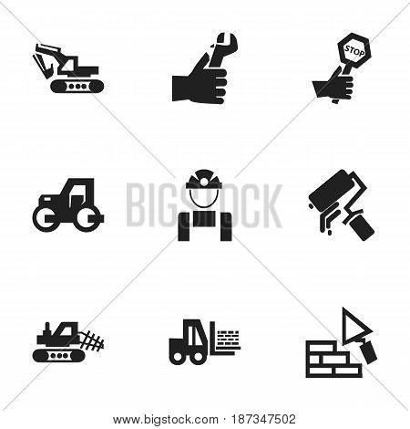 Set Of 9 Editable Structure Icons. Includes Symbols Such As Mule, Truck , Hands. Can Be Used For Web, Mobile, UI And Infographic Design.