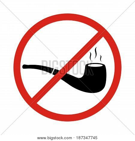 no smoking sign with tobacco pipe symbols. No smoking pipe sign. vector illustration