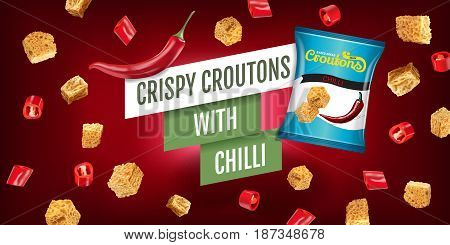 Crispy croutons ads. Vector realistic illustration of croutons with chilli. Horizontal banner with product.