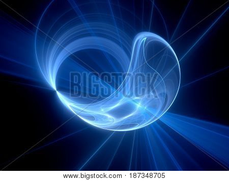 Blue glowing high power plasma disc in space computer generated abstract background 3D rendering