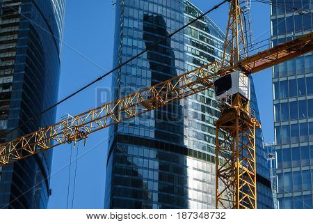 construction of high-rise buildings. modern view. landscape. crane