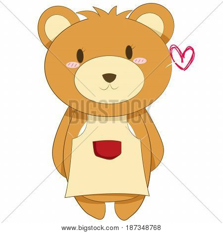 Mother Brown Bear wearing a yellow apron.