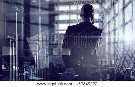 Businessman having talk . Mixed media