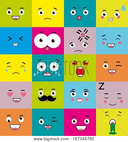 Emoticons emoji icons set. Mood symbols. Face expressions. Vector illustration