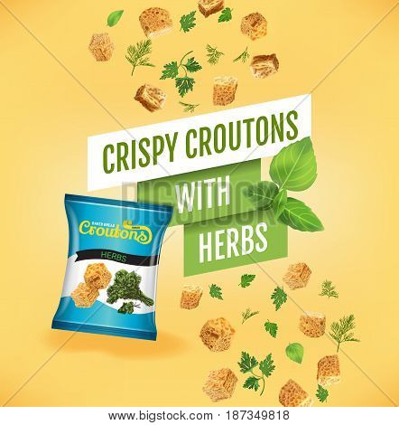Crispy croutons ads. Vector realistic illustration of croutons with herbs. Poster with product.