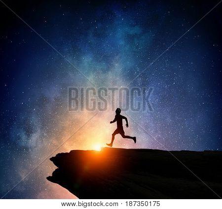 Jogger running at night . Mixed media . Mixed media