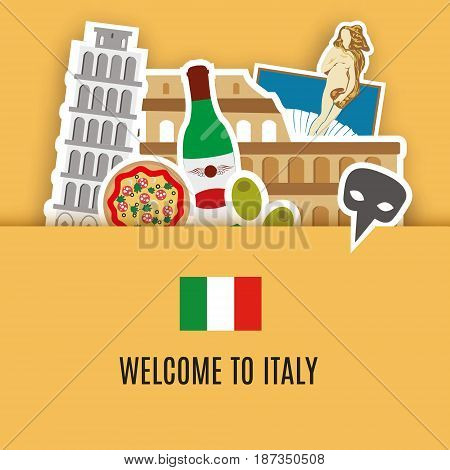 Italy travel background, symbols of Italy. Colosseum pizza venice mask and other. Welcome to Italy  banner. Vector illustration