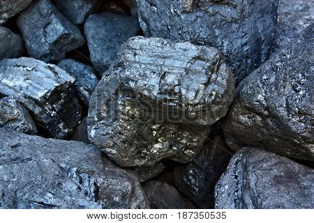 Pile of coal from mining pit nature