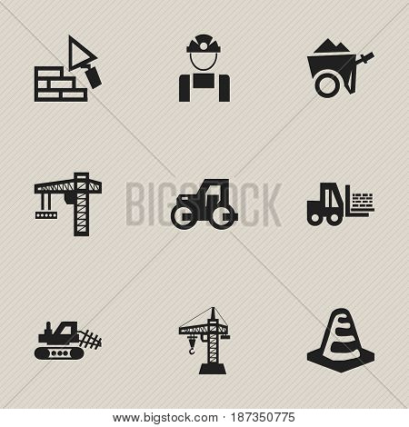 Set Of 9 Editable Construction Icons. Includes Symbols Such As Employee , Handcart , Truck. Can Be Used For Web, Mobile, UI And Infographic Design.