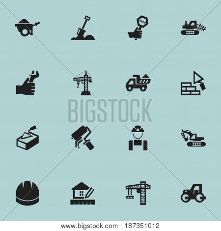 Set Of 16 Editable Construction Icons. Includes Symbols Such As Endurance , Employee , Hands. Can Be Used For Web, Mobile, UI And Infographic Design.