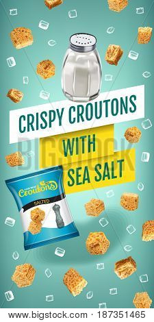 Crispy croutons ads. Vector realistic illustration of croutons with sea salt. Vertical banner with product.