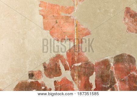 Detail Of Red Pompeian Fresco