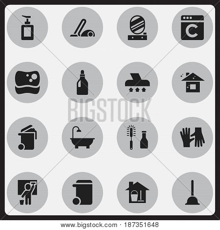 Set Of 16 Editable Cleaning Icons. Includes Symbols Such As Bathroom, Washing Tool, Hand Sanitizer. Can Be Used For Web, Mobile, UI And Infographic Design.