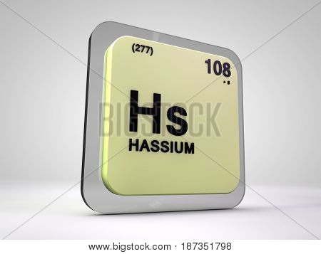 Hassium - Hs - chemical element periodic table 3d illustration