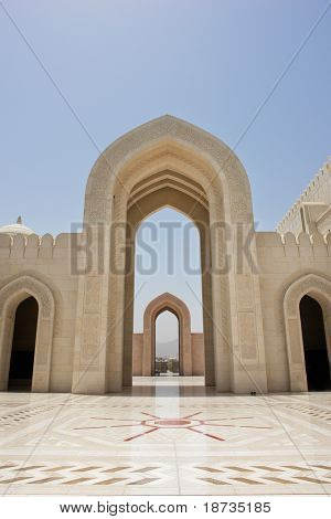 Muscat - Oman, Sultan Qaboos Grand Mosque - Courtyard