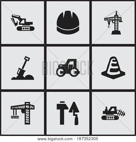 Set Of 9 Editable Building Icons. Includes Symbols Such As Mule, Construction Tools, Oar And More. Can Be Used For Web, Mobile, UI And Infographic Design.