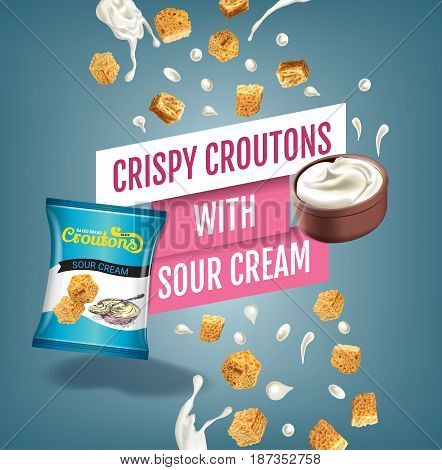 Crispy croutons ads. Vector realistic illustration of croutons with sour cream. Poster with product.