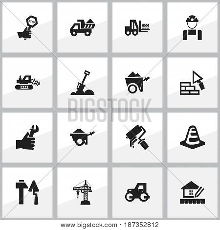 Set Of 16 Editable Construction Icons. Includes Symbols Such As Endurance , Hands , Employee. Can Be Used For Web, Mobile, UI And Infographic Design.