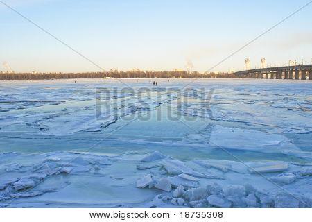 Kiev Ukraine, Frozen Dnieper river in winter poster
