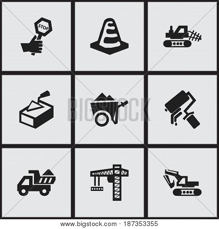Set Of 9 Editable Construction Icons. Includes Symbols Such As Lifting Equipment, Camion, Excavation Machine And More. Can Be Used For Web, Mobile, UI And Infographic Design.