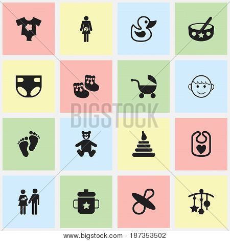 Set Of 16 Editable Baby Icons. Includes Symbols Such As Teddy, Bath Toys, Lineage And More. Can Be Used For Web, Mobile, UI And Infographic Design.